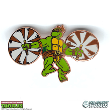 Load image into Gallery viewer, Gold Michelangelo: 35 Years of TMNT Limited Run Pin