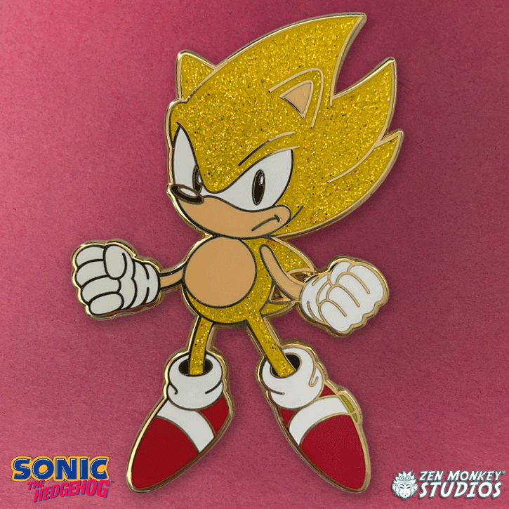 Super Sonic Mega-Pin: Classic Sonic The Hedgehog Collectible Pin
