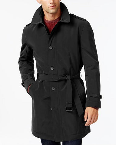 Kenneth Cole Men's Black Slim Fit Reino Water Repellent Coat, Size L