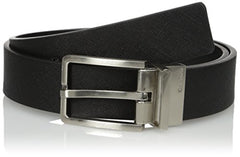 Calvin Klein Men's Black/Brown Round Edge Buckle 35mm Reversible Belt, Size 38
