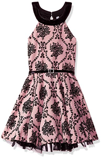 Beautees Girl's Pink and Black Fit and Flare Dress Size 14