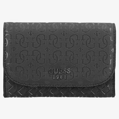 Guess Flutter SLG Double Date Monogram Flap Wallet for Women - Black
