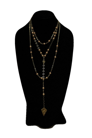 Free People Brass Pearl Chain Necklace w/ Pendant