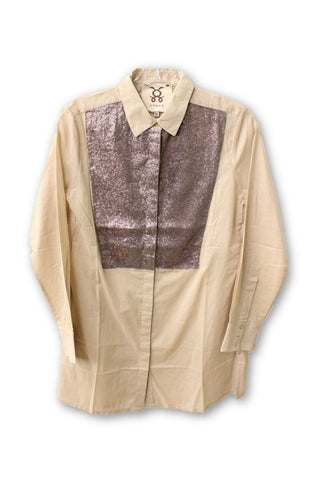 Figue Women's Brown Sequin Button Down Shirt NWT