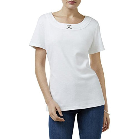 Karen Scott Womens Embellished Scoop Neck Casual Top White XL