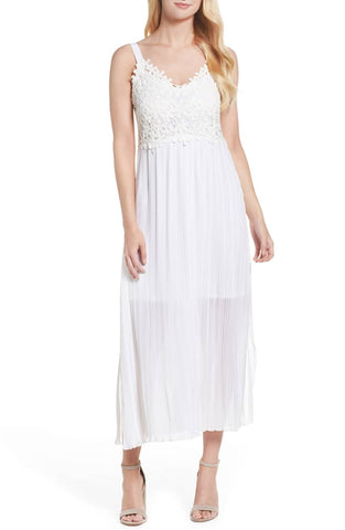 French Connection White Posy Lace Midi Dress, Size US 10