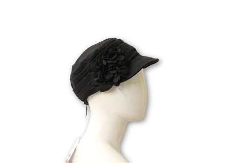 Nine West Women's Black Flower Felt Hat, One Size Fits All