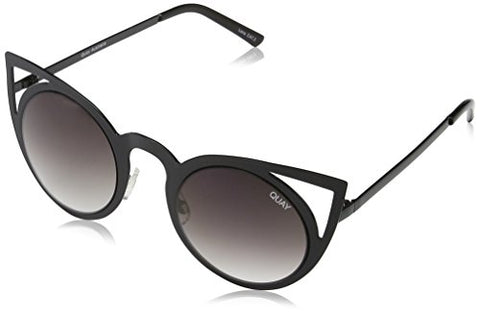 Quay Australia INVADER Women's Sunglasses Metal Cat Eye Frame - Black/Smoke