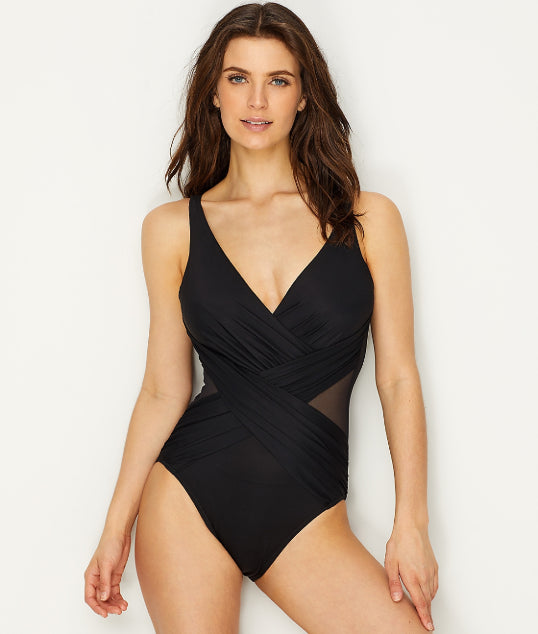 8421213c Miraclesuit Black Illusionist Crossover One-Piece Swimsuit, Size 16 – Cheap  Maggies