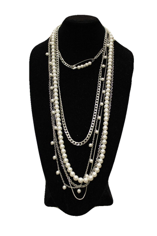 Free People Pearl Silver Opera Necklace