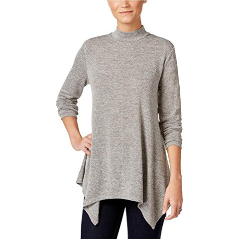 Style & Co. Womens Handkerchief Hem Mock Neck Casual Top Gray M