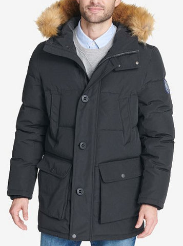 Tommy Hilfiger Men's Black Long Parka With Faux Fur Hood, Size L NWOT