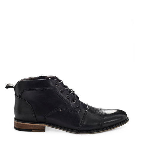 Steve Madden Men's Johnnie Black Leather Boots