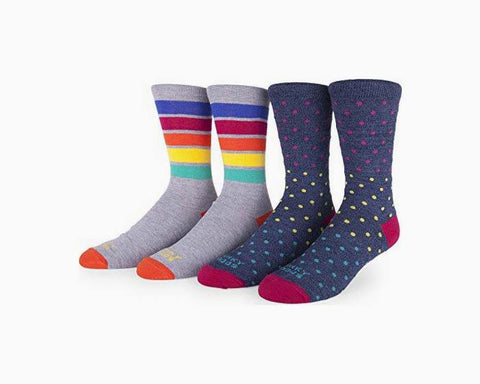 Funky Socks Men's 2-Pack Colorful Patterned Crew Socks (Bold Stripes & Candy Dots )