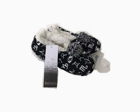 Kensie Women's Slipper/Socks, Black Astrology, NWT