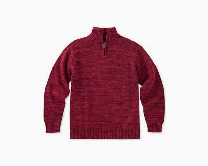 Calvin Klein Marled Quarter-Zip Cotton Sweater, Big Boys, NWT, $60