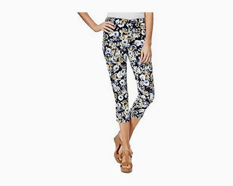 Charter Club Women's Bristol Printed Capris (Light Blue Floral, 8)