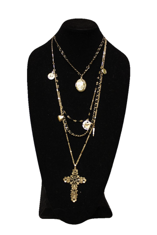 Free People Black Gold Chain Necklace w/ Lockets and Cross