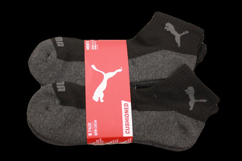 Puma Men's 6 Pack Quarter-Crew Sport Socks, Black/Grey, Sock Size 10-13