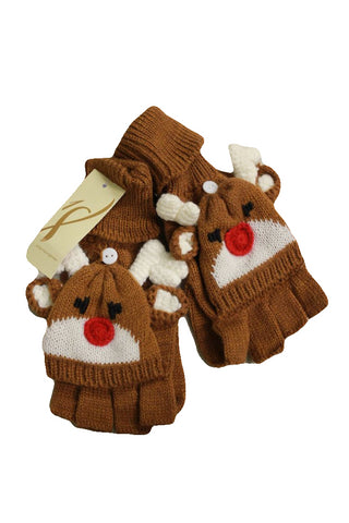 Macy's Women's Brown Rudolph Flip-Top Gloves, One Size