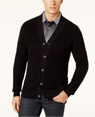 Alfani Men's Black Ribbed Cardigan Sweater, Size L
