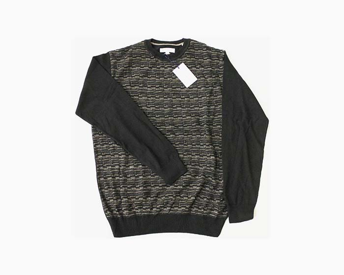 ALEX CANNON Men's Crew Neck Sweater, Size M, Blacks