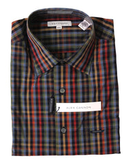 Alex Cannon Men's Dress Shirt, Dark Check, Size M, NWT