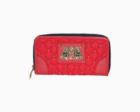 Juicy Couture Zip Wallet Clutch Red Quilted
