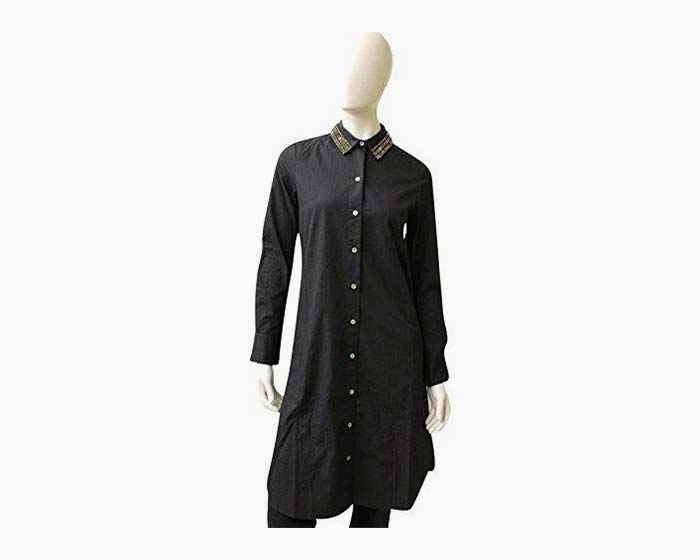 Figue Cotton Shirt Dress W/Rhonestones, Size XS, Navy