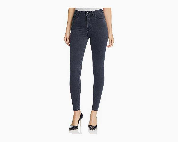 DL1961 Women's Jessica Alba No. 1 Trimtone High Rise Jeans in Battle (Black) Size 24