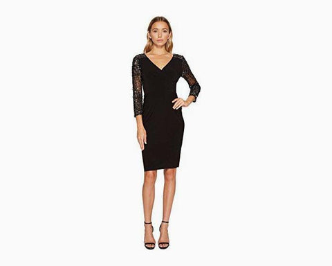 Adrianna Papell Women's Stretch Knit Beaded Cocktail Dress Black 12