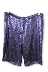 Adam Lippes Women's Blue Sequin Dress Shorts Size 4 NWT