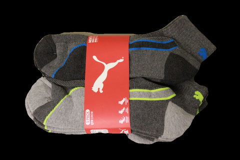 Puma Men's 6 Pack Quarter-Crew Sport Socks, Grey/Highlights, Sock Size 10-13