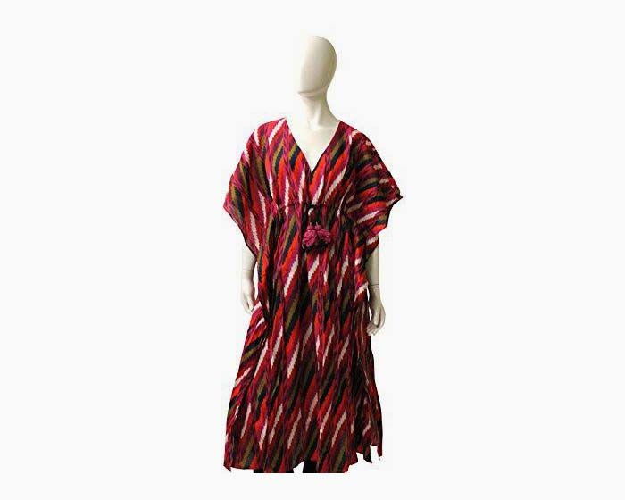 Fique Figue Deep Vee Cotton Kaftan, Size XS, Multi Colored