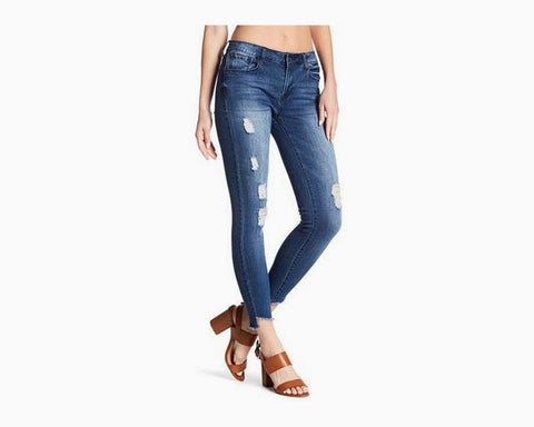 Kensie Women's Distressed Skinny Ankle Crop Jeans with Step Hem