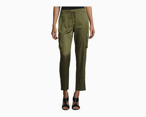 Laundry By Shelli Segal Women's Olive Luxe Drawstring Cargo Pants