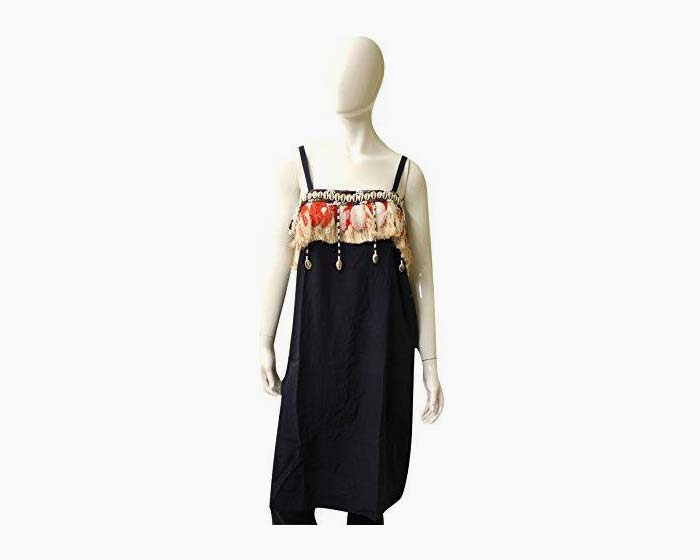 Fique Figue Silk Native Adorned Tank Dress, Size L, Navy