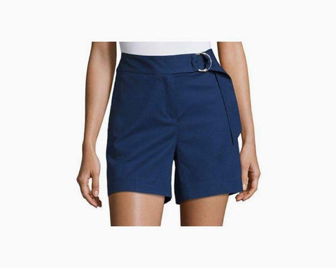 Michael Kors Women's Blue Ring Belted Cotton Blend Shorts