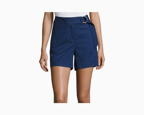 Michael Kors Women's Blue Ring Belted Cotton Blend Shorts , NWT, $130