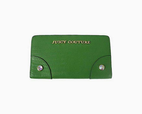 JUICY COUTURE CONTINENTAL LEATHER CLUTCH WALLET GREEN YSRUO234