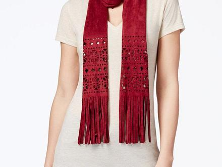 Inc International Concepts Women's color:wine Perforated Faux Suede Skinny Scarf,