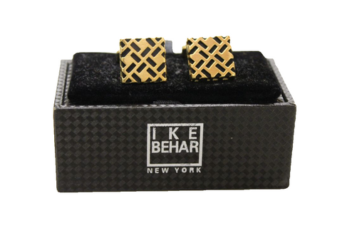 Ike Behar Gold Plated with Black Detailing Cufflinks