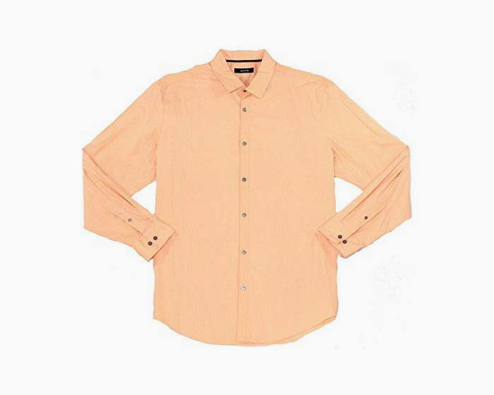 Alfani Men's Landon Grid Cotton Shirt (XX-Large, Peachy Keen)