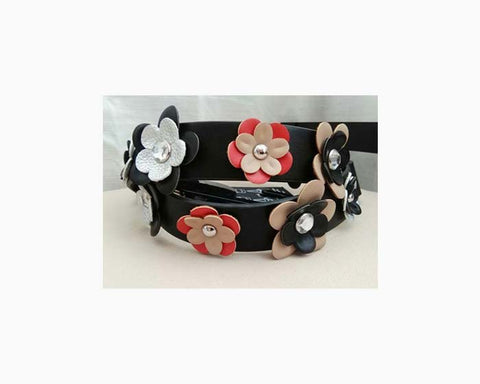 INC International Concepts Black Floral Interchangeable Purse Strap Black