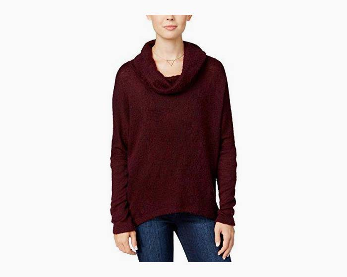 Bar III Womens Fleece Asymmetric Sweater Red XS
