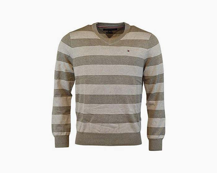 Tommy Hilfiger Mens Premium Cotton V-Neck Sweater - XXL - Frost Grey