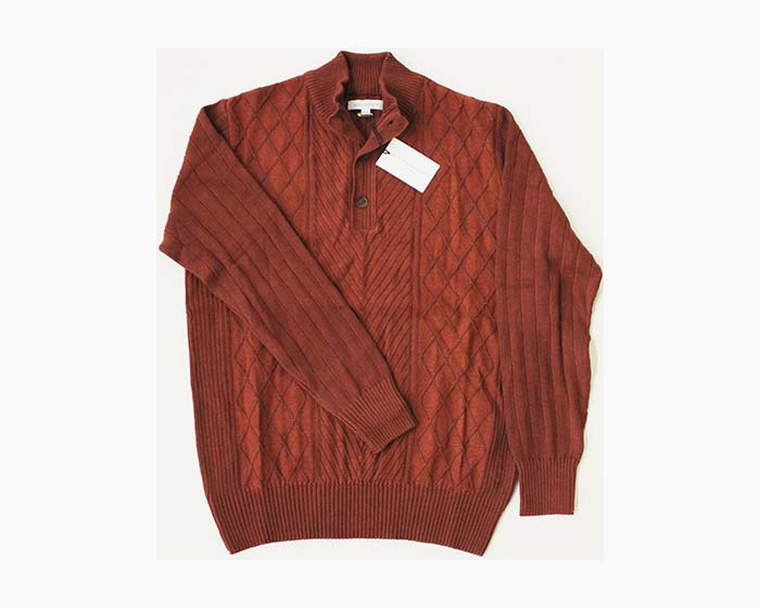 ALEX CANNON Men's 1/4 Button Sweater, Size M, Rust