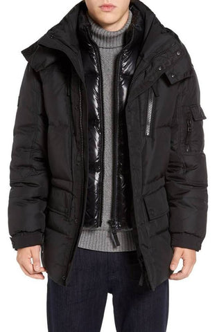 SAM New York Men's Black Element Down Parka, Size M