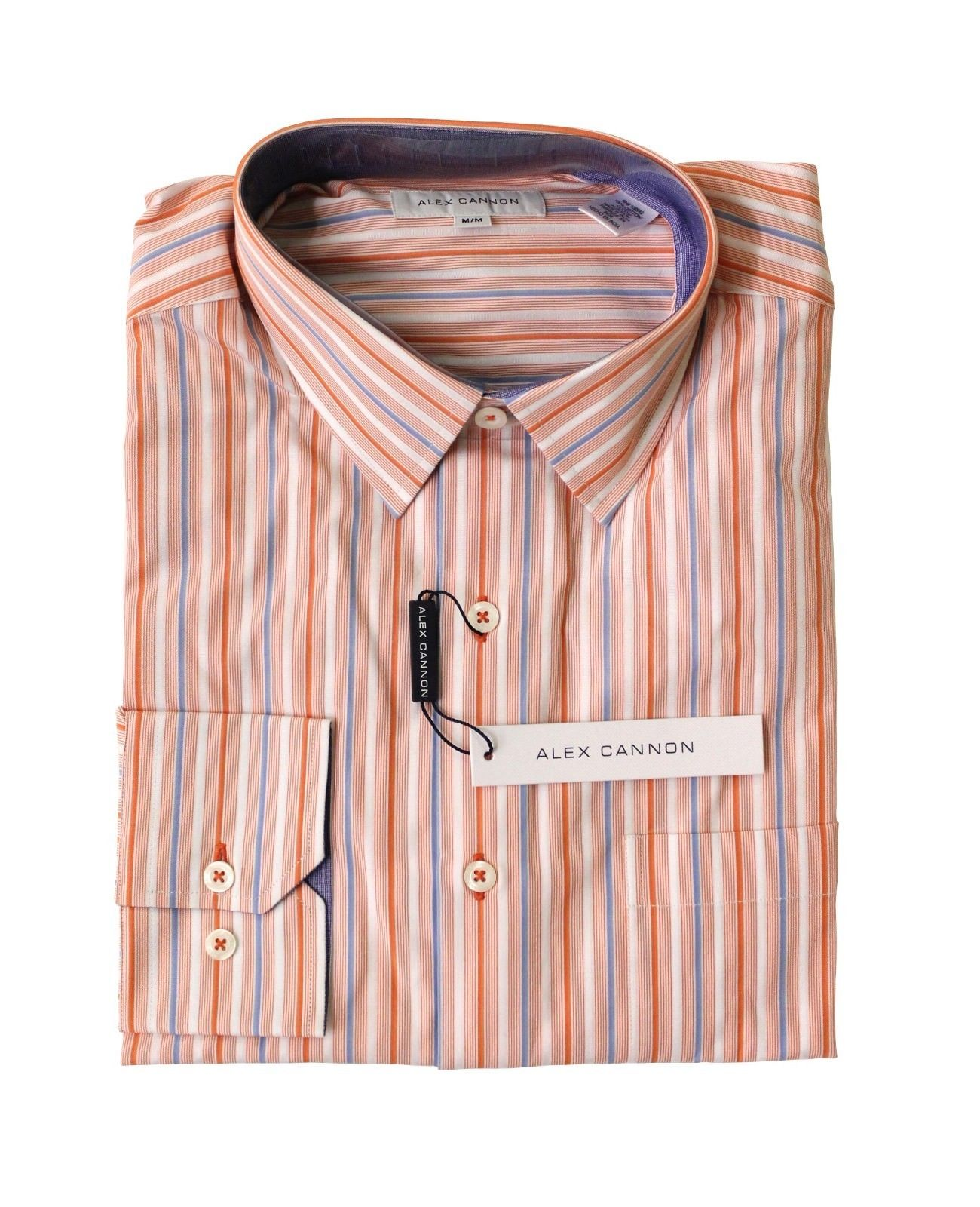 Alex Cannon Men's Dress Shirt, Orange Stripes, NWT
