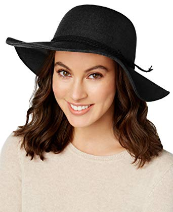 INC International Concepts Women's Black Braided Packable Floppy Hat